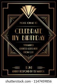 Geometric Art Deco Style Birthday Invitation Design