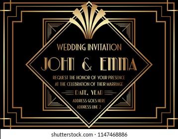 Geometric Art Deco Style Wedding Invitation Design