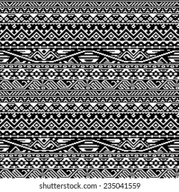 Geometric aztec black and white seamless pattern, vector