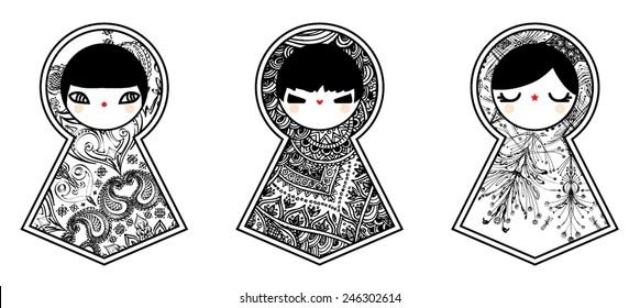 Geometric babushka matryoshka dolls