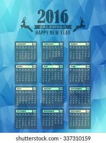 Geometric Background and 2016 Calendar Design - Week Starts Sunday