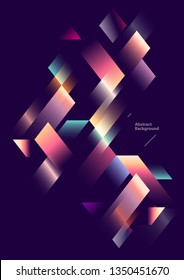 Geometric background. Bright gradient stripes on  dark background.