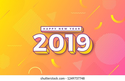 Geometric background btight color. Template design poster banner website.Greeting card with inscription Happy New Year 2019. Vector Illustrations.