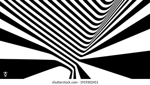 The geometric background by stripes. Black and white modern pattern with optical illusion. 3d vector illustration for brochure, annual report, magazine, poster, presentation, flyer or banner.