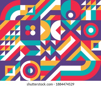 Geometric background design. Abstract artwork pattern. Geometrical figures. Composition Graphic print poster. Business presentation cover banner. Collage futuristic ornament. Vector illustration.