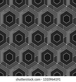 Geometric background. Hexagons, quadrangles pattern.Simple shapes backdrop. Polygons motif. Geometrical figures wallpaper. Digital paper, abstract. Seamless ornament