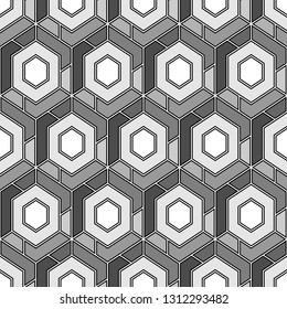 Geometric background. Hexagons, quadrangles pattern.Simple shapes backdrop. Polygons motif. Geometrical figures wallpaper. Digital paper, abstract. Seamless ornament.