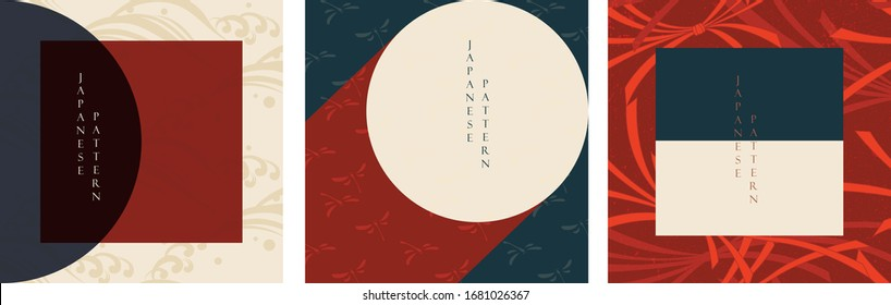 Geometric background with  Japanese pattern vector. Wave, dragonfly and ribbon elements.