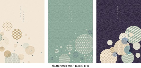 Geometric background with Japanese wave pattern vector. Blue circle element with abstract layout in vintage style. - Shutterstock ID 1688214541
