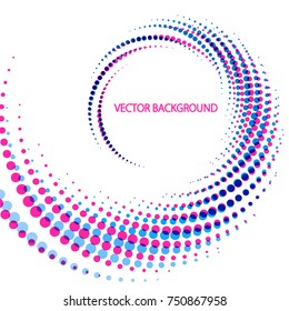 Geometric Background of Spiral Dots with Duo Tone Effect. Colorful Vector Illustration.