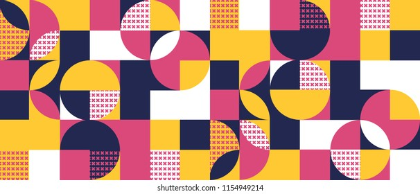 Geometric background with squares,triangles, rounds and crosses a 3D effect. Colorful modern abstract pattern for websites