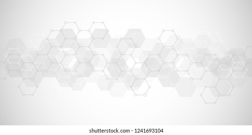 Geometric background texture with molecular structures and chemical engineering. Abstract background of hexagons pattern. Vector illustration for medical or scientific and technological modern design