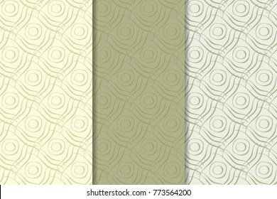 Geometric backgrounds. Olive green and beige abstract seamless patterns for wallpapers or textile