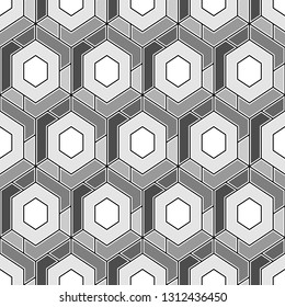 Geometric background.Simple shapes backdrop. Hexagons, quadrangles pattern.Polygons motif. Geometrical figures wallpaper. Digital paper, abstract. Seamless ornament