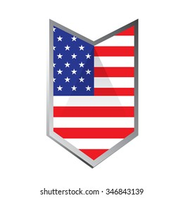 A geometric badge with the american flag on a white background