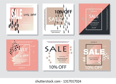 Geometric banners set with sales. Cards set for sales. Trendy simple sale posters in delicate pastel beige and pink-gold colours.