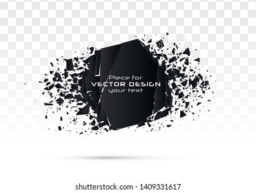 Geometric banners.Abstract explosion of black glass.Square and circle destruction shapes.3d effect of particles.Vector illustration.