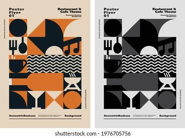 Geometric Bauhaus Background - Cafe and restaurant Theme