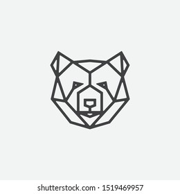 geometric bear head logo design, bear linear icon design illustrtion, bear logo design
