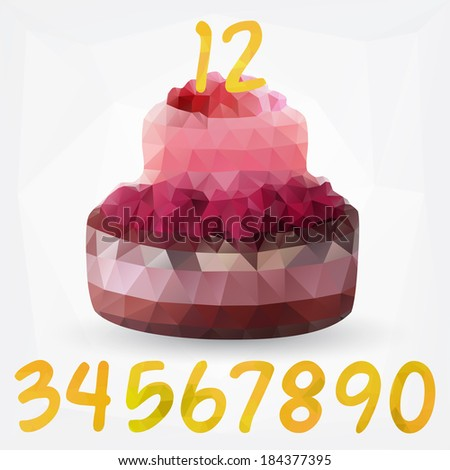 Geometric Birthday Cake With Numbers Vector Mosaic Illustration