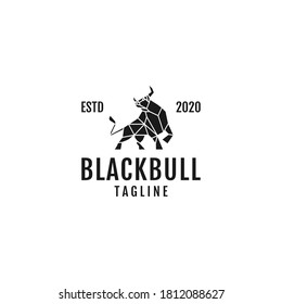 Geometric black bull logo template