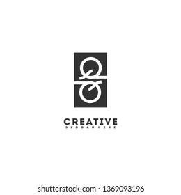 geometric black rectangle QQ logo letters design monogram concept