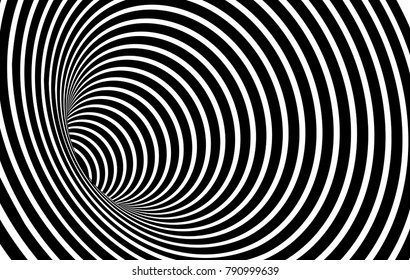 Geometric Black and White Abstract Hypnotic Worm-Hole Tunnel - Optical Illusion - Vector Illusion Optical Art