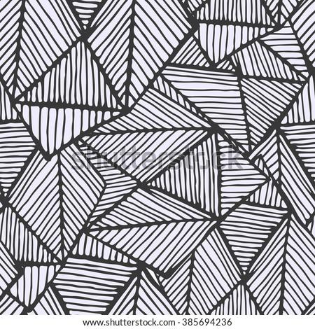 Geometric Black White Pattern Hand Drawing Image Vectorielle De