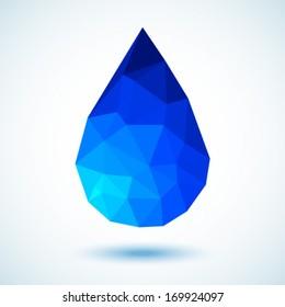 Geometric Blue Drop, vector illustration