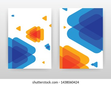 Geometric blue orange arrows business design for annual report, brochure, flyer, poster. Geometric blue red arrow background vector illustration for flyer, leaflet, poster. Abstract brochure template.