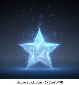 Geometric blue star with light effect