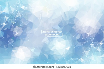 Geometric Blue White Polygonal background molecule and communication. Connected lines with dots. Minimalism background. Concept of the science, chemistry, biology, medicine, technology.