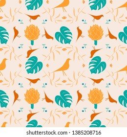 Geometric boho chic style seamless vector pattern with flowers,fern,leaves, artichoke and birds on beige background.Contrast colors.Creative print for botanical wallpaper or print on cloth and case