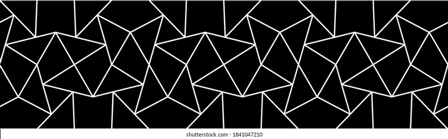 Geometric border pattern with crossing white zigzag lines on black background. Seamless line abstract geometric design. Stylish fractal vector monochrome lattice.