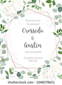 Geometric botanical vector design frame on white background. Creamy white rose, silver dollar eucalyptus, greenery. Trendy wedding card. Pink gold line art and glitter. All elements are isolated.