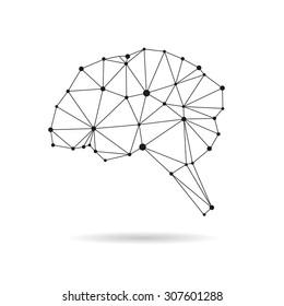 Geometric brain design silhouette. Black line vector illustration