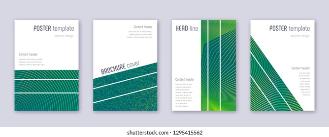 Geometric brochure design template set. Green abstract lines on dark background. Alive brochure design. Wonderful catalog, poster, book template etc.