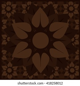 geometric brown flower background deco