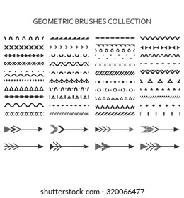 Geometric brushes collection. Set of geometric borders and arrows