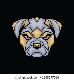 Geometric Bulldog Mascot, Animal design emblem template for Logo or Tshirt