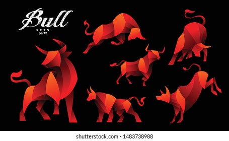 geometric bulls design vector set , combined red and little bit orange color in black background. change able color and work well in both dark and light background
