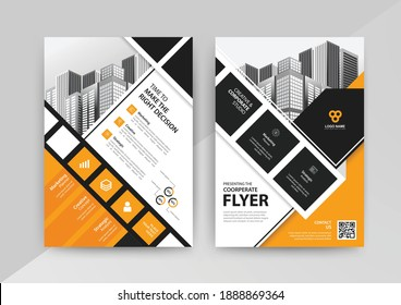 Geometric Business abstract vector template for Brochure, Annual Report, Magazine, Poster, Corporate Presentation, Portfolio, Flyer, Market, infographic with yellow and black color size A4, Front and