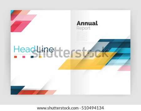 geometric business annual report templates modern stock vector