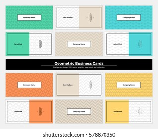 Geometric business cards with pattern background. Modern clean design geometry texture. Vector abstract branding kit with minimalistic seamless shapes for brand, presentation, web, print, package.
