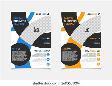 Geometric Business flyer template vector design, A4 brochure template blue and amber geometry shapes used for business poster layout, IT Company flyer, corporate banners, and leaflets