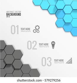 Geometric business infographic template with 3d gray blue hexagons three options gears bulb graph icons vector illustration