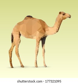 Geometric Camel made with triangles. Vector polygonal illustration