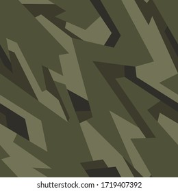 Geometric camo ornament texture seamless pattern. Abstract modern endless camouflage texture for vinyl wrap print. Vector background.