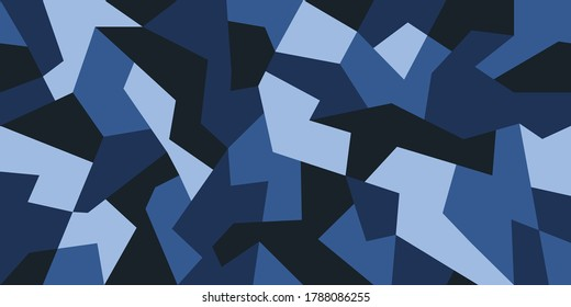 Geometric camouflage design in navy blue colors. Camo pattern seamless texture. Creative background for textile prints. Stock vector