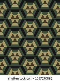 Geometric camouflage hexagon seamless pattern, vector